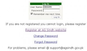 ag Sindh e-payslip LOG In